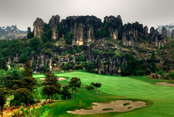 Stone Forest GC, Kunming, China. The three courses are designed by the Schmidt Curley design team and is adjacent to the world heritage site Stone Forest National Park. Photo Credit / Phil Inglis